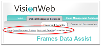 VisionWeb Newsite Navigation