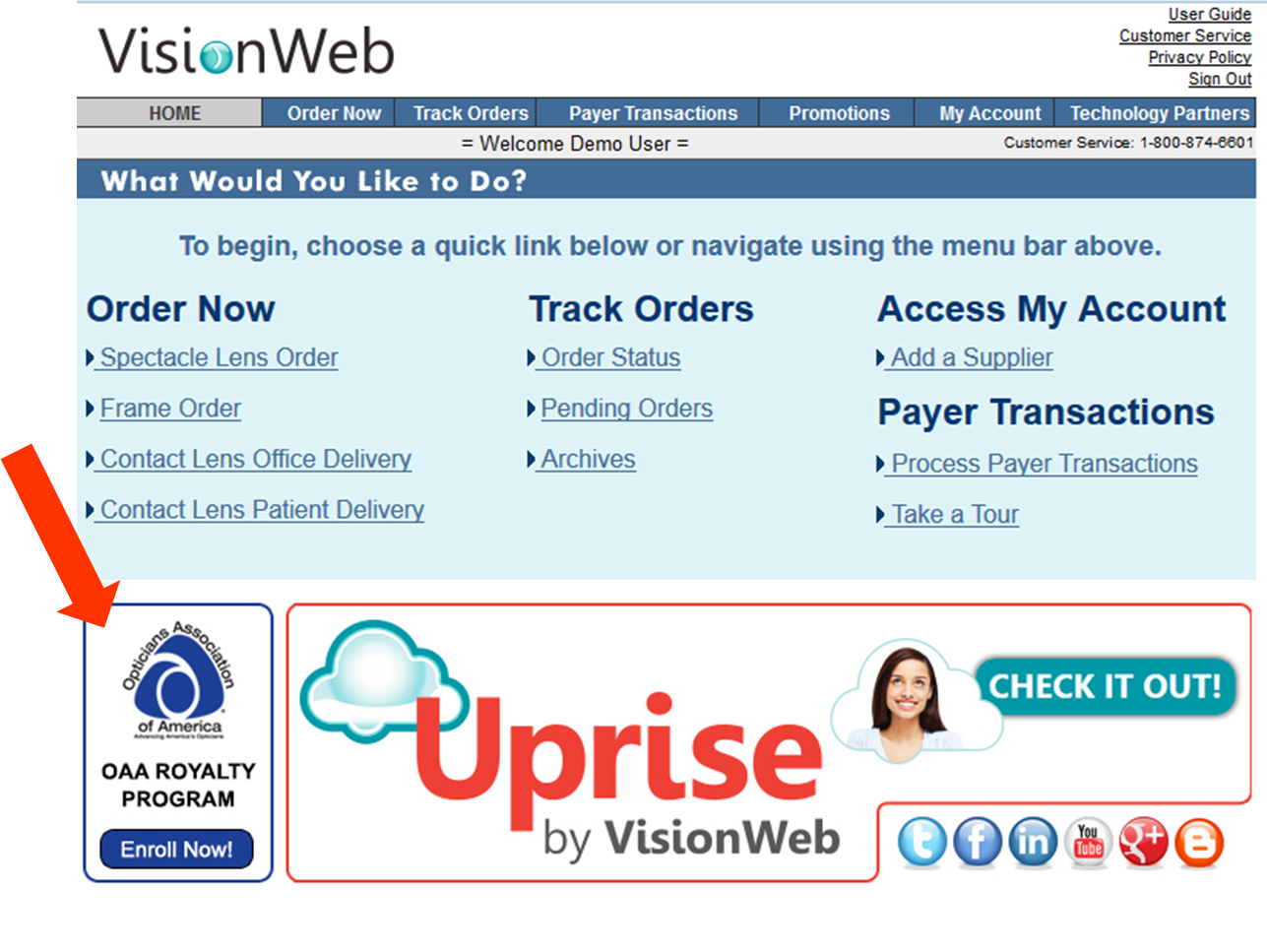 online ordering service for opticians